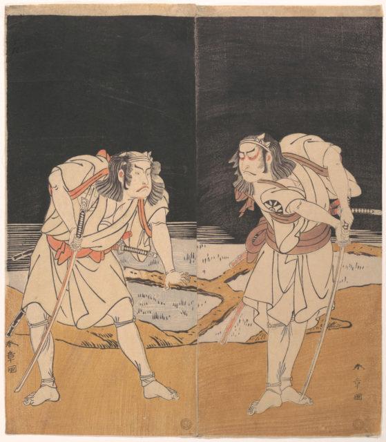 "Duel Scene from the Kabuki Drama, ""A Soga Pattern Dyed to Order"" (Ōatsurae-zome Soga Hinagata)"