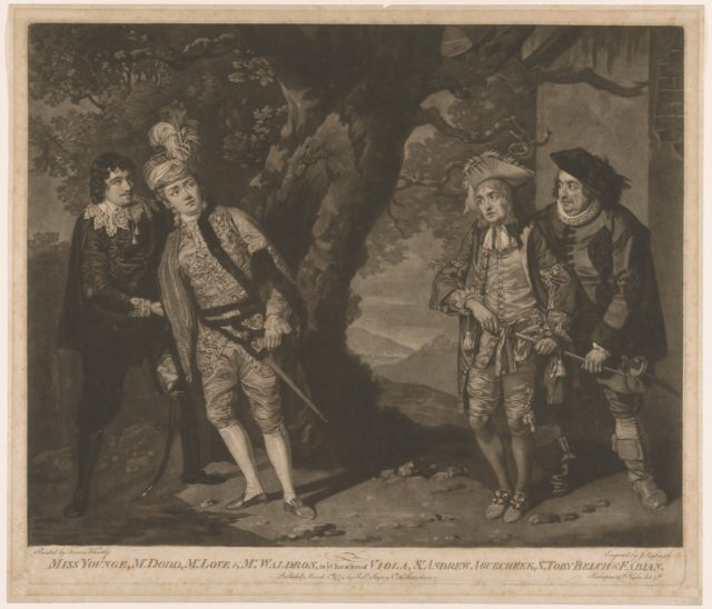 Miss Younge, Mr. Dodd, Mr. Love, and Mr. Waldron, in th Characters of Viola, Sir Andrew Aguecheek, Sir Toby Belch, and Fabian (Shakespeare, Twelfth Night, Act 3, Scene 4)