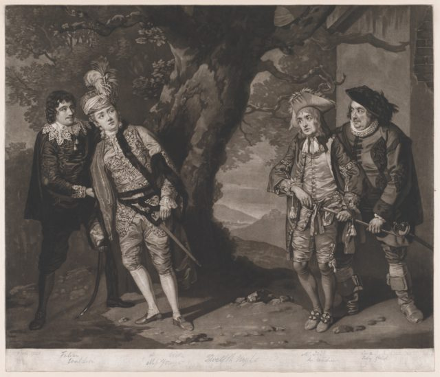 Miss Younge, Mr. Dodd, Mr. Love, and Mr. Waldron, in the Characters of Viola, Sir Andrew Aguecheek, Sir Toby Belch, and Fabian (Shakespeare, Twelfth Night, Act 3, Scene 4)