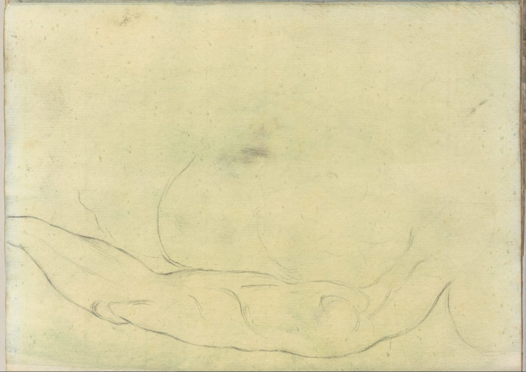Sketches of Male Bodies, possibly after Michelangeolo (Smaller Italian Sketchbook, leaf 18 recto)