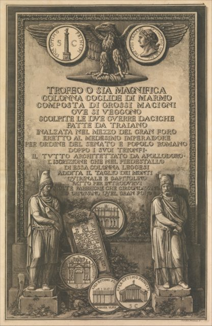Title page, from Trofeo o sia Magnifica Colonna Coclide...(The Trophy or Magnificent Spiral Column)