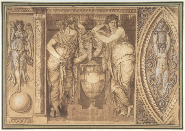 Design for a Frieze with Two Women Flanking an Urn