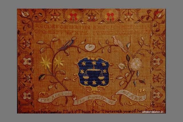 Embroidered Sampler: Starr Coat of Arms