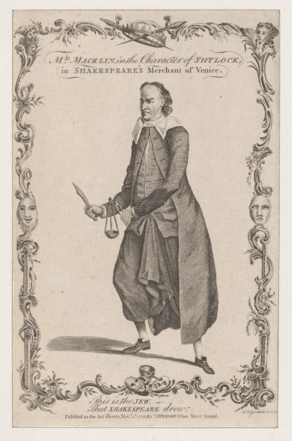 Mr. Macklin in the Character of Shylock, in Shakespeare's The Merchant of Venice