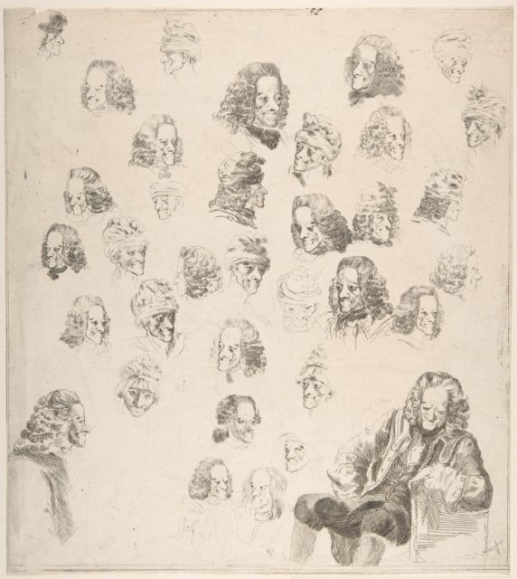 Sketches of Voltaire at Age Eighty-One
