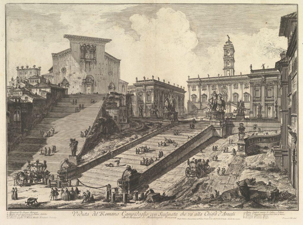 The Capitol and the steps of S. Maria in Aracoeli (Veduta del Romano Camipidoglio con scalinata che va alla chiesa d'Araceli)
