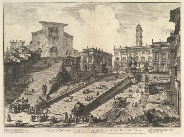 The Capitol and the steps of S. Maria in Aracoeli (Veduta del Romano Camipidoglio con scalinata che va alla chiesa d'Araceli)