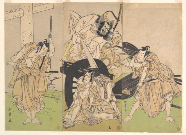 Kabuki Actors Ichikawa Yaozō II, Nakajima Mihoemon II, Ichikawa Ebizō III, and Ichimura Uzaemon IX in the Play Sugawara's Secrets of Calligraphy (Sugawara denju tenarai kagami)