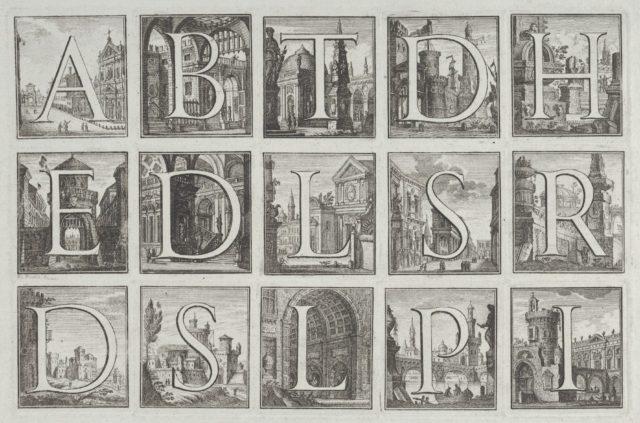 Roman alphabet against architectural backgrounds, from G. P. Zanotti's Il Claustro di San Michele in Bosco di Bologna
