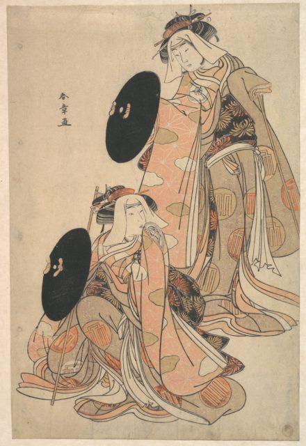 The Actors IV Iwai Hanshiro and I Bando Mitsugoro as Women Pilgrime in a shosa (Acting and Dancing) Performance