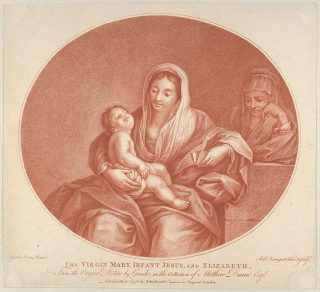 The Virgin seated with the infant Christ sleeping in her lap, Saint Elizabeth at right, an oval composition, after Reni