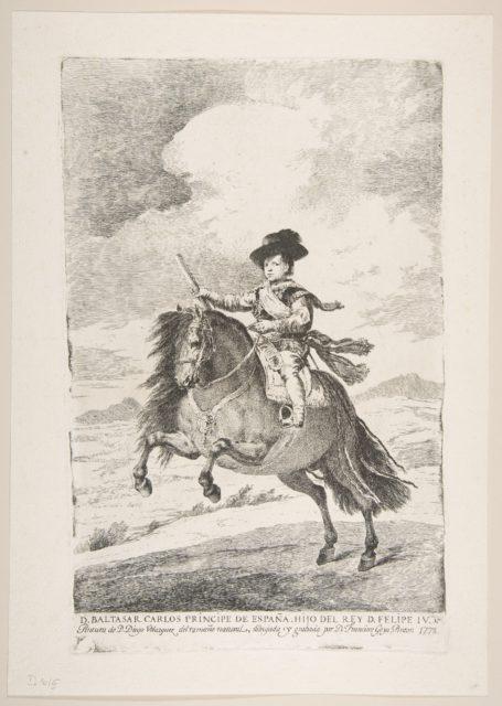Balthasar Carlos, Prince of Spain and Son of Philip IV (D. Baltasar Carlos Principe de España. Hijo del Rey D. Felipe IV), from Etchings after Velazquez