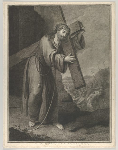 Christ carrying the cross, at right the two thieves on the road to Calvary, two crosses in the background, after Reni (?)