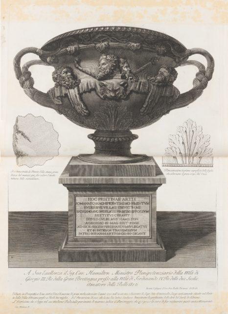 """Large vase found at the Pantanello, Hadrian's Villa, Tivoli, in 1770 (The """"Warwick Vase,"""" from Vasi, candelabri, cippi, sarcofagi, tripodi, lucerne, ed ornamenti antichi disegnati ed incisi dal Cav. Gio. Batt. Piranesi, Vol. I (Vases, candelabra, grave stones, sarcophagi, tripods, lamps, and ornaments designed and etched by Cavalieri Giovanni Battista Piranesi)"""