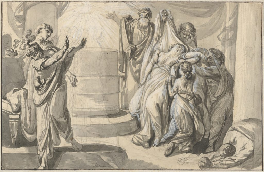 An Antique Sacrificial Scene; verso: Sketch of a Group of People