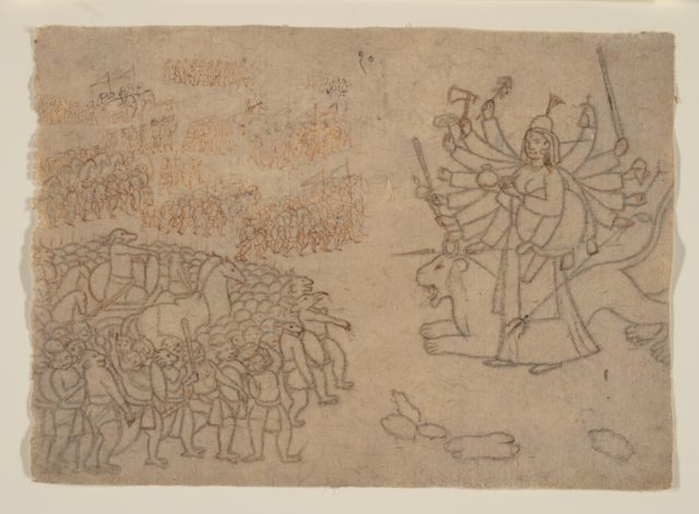 Durga Confronts the Army of the Demon Chikshura: Scene from the Devi Mahatmya