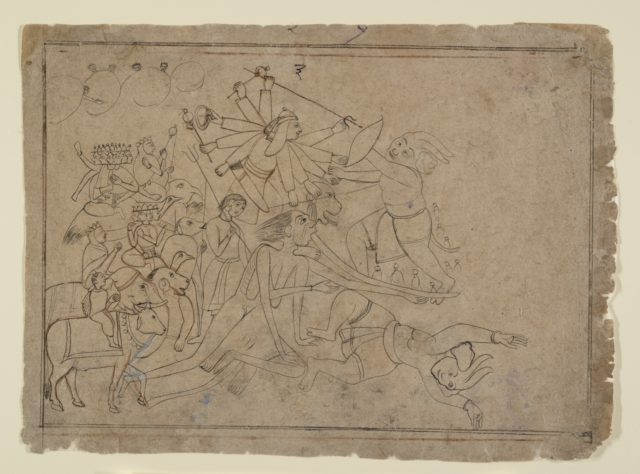 Durga, Kali, and the Matrikas Battle the Demon Raktabija: Scene from the Devi Mahatmya