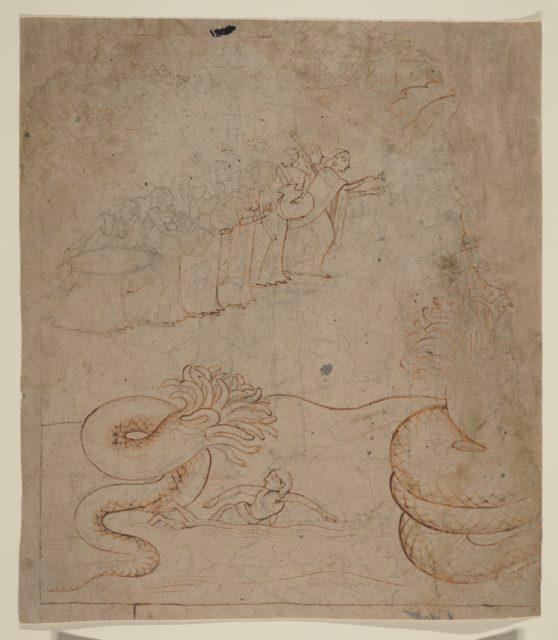 Krishna Subdues the Serpent Kaliya in the Yamuna River: Illustration from a Bhagavata Purana Series