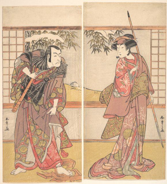 Osagawa Tsuneyo II in the Role of Oishi and Ichikawa Danjuro V in the Role of Honzo