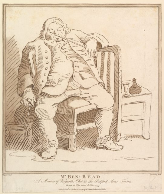 Mr. Ben: Read, A Member of Hogarth's Club at the Bedford Arms Tavern, Drawn by him about the Year 1757
