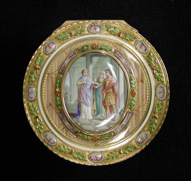 Snuffbox with miniature depicting the return of Theseus