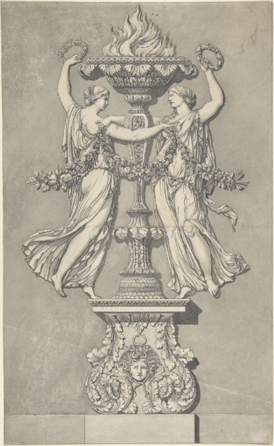 Candelabrum with Two Victory Figures (for 'Ornamenti Diversi')