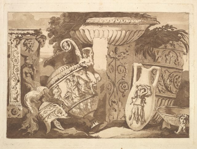 Composition with the Antique Fragments and a Leaning Vase, from Recueil de Compositions par Lagrenée Le Jeune (Collection of Compositions by Lagrenée the Younger)