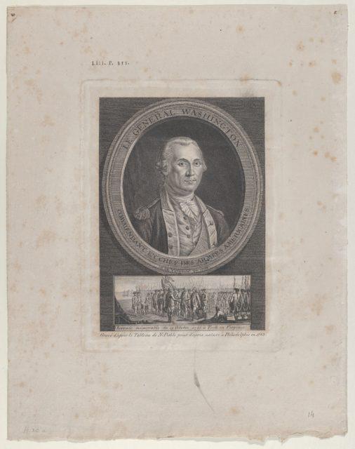 Le Général Washington, Commendant en Chef des Armées Americaines, né en Virginie en 1733 (General Washington, Commander in Chief of the American Armies, born in Virginia in 1733 [sic])