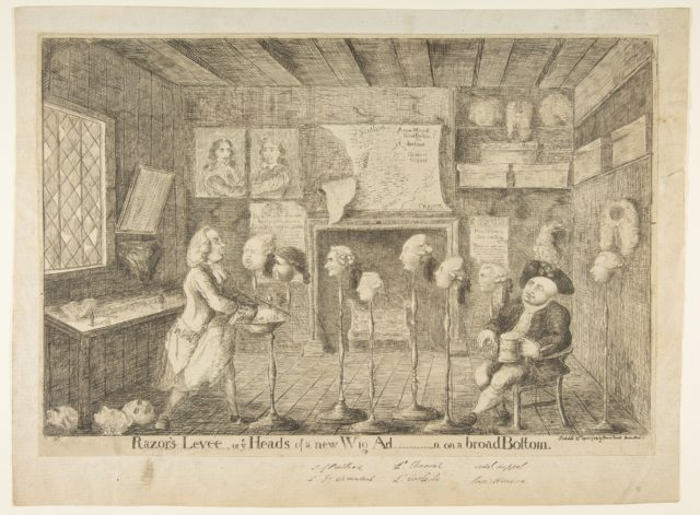 Razor's Levée, or Ye Heads of a New Wig Ad[ministration] on a Broad Bottom