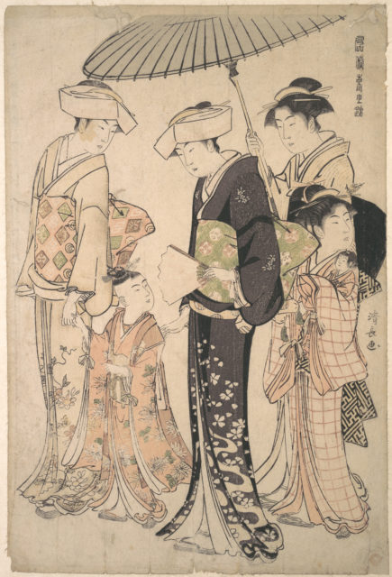 Two Women in Summer Costume Taking a Young Girl to a Shinto Temple for the Miya Mairi Ceremony