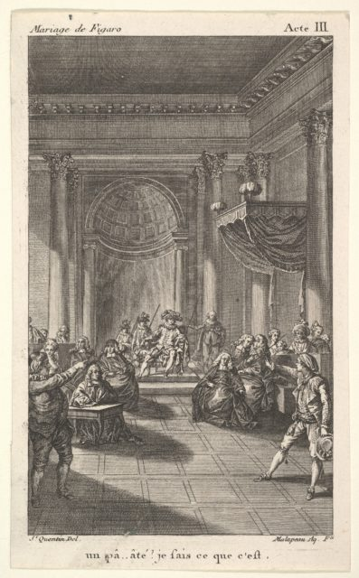 A man seated in a chair on a stepped platform holds an audience, two pointing men stand in the foreground, from a series of five illustrations after Jacques Philippe Joseph de Saint-Quentin for 'The mad day, or the marriage of Figaro' (La Folle journée, ou le mariage de Figaro) by Pierre Augustin Caron de Beaumarchais