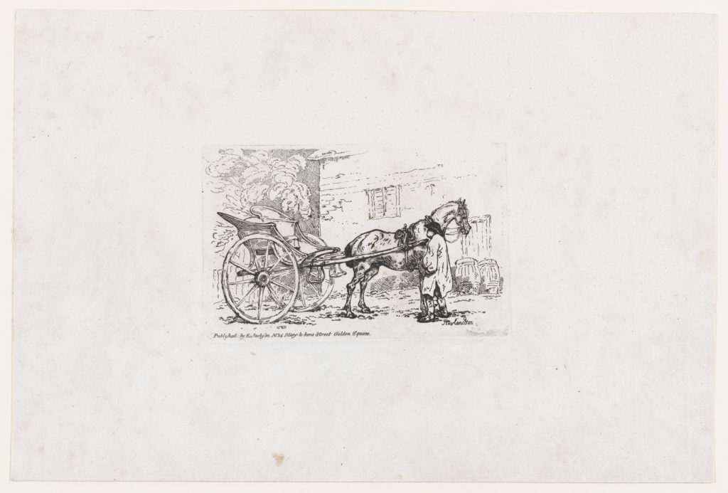 A Man Standing By a Horse and Chaise or Cabriolet, from A New Book of Horses and Carriages