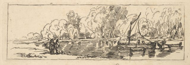 A Sailboat and Dingy on a River or Pond Watched by Two Figures on the Bank