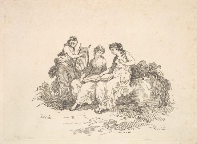 Harmony – Two Nymphs Singing, Another Playing a Lyre