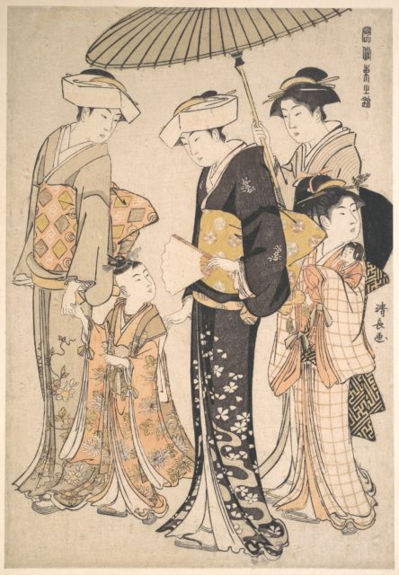 High-Ranking Samurai Girl with Four Attendants, from the series A Brocade of Eastern Manners (Fūzoku Azuma no nishiki)