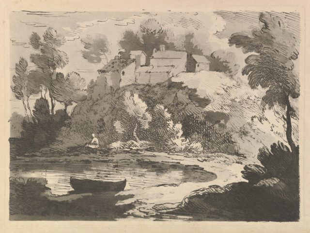 Hilly River Landscape, a Boat in the Water at Foreground Left, a Figure on the Far Shore, Houses on a Wooded Hill Beyond