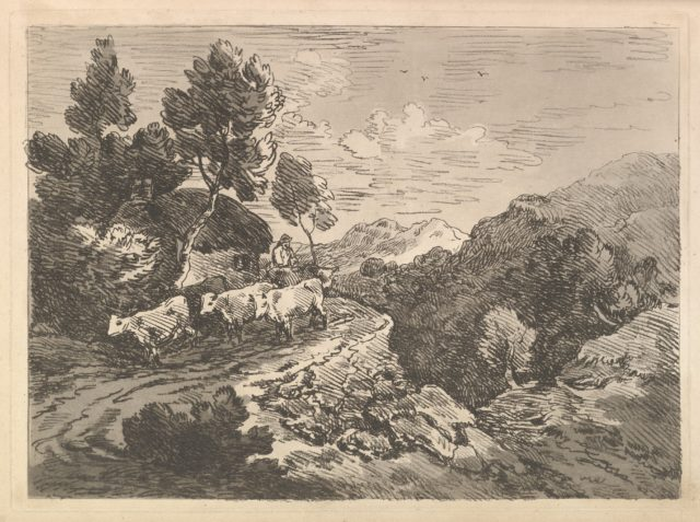 Landscape with a Figure Herding Cattle Along a Road Beside a Cottage, a Hillside at Left, a Forest in the Valley Below at Right