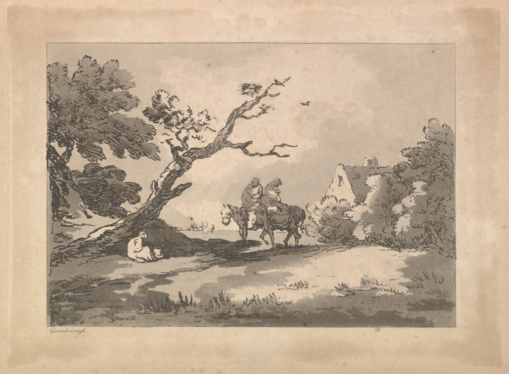 Landscape with Figures on Horseback, Another Resting Under a Gnarled Tree, and a Cottage at Right Nestled in Trees