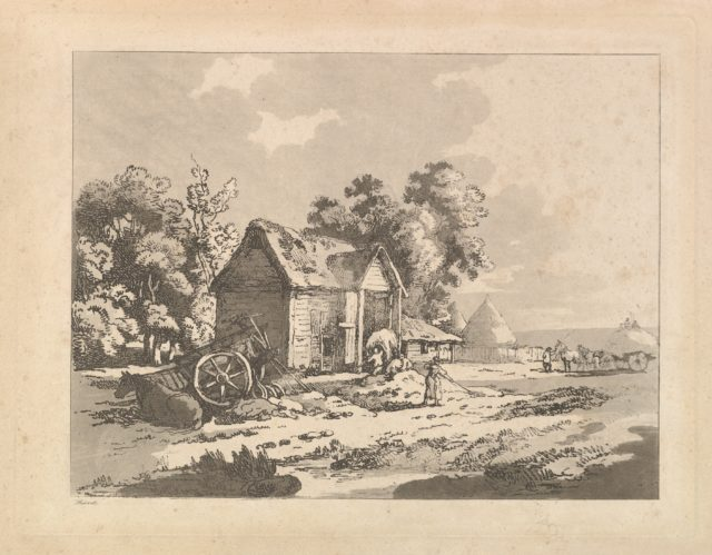 Landscape with Figures Storing Hay in a Barn, a Cart and Horse Lying Down at Left