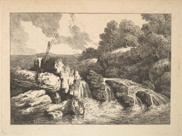 Landscape with Two Fishermen Climbing Rocks Next to a Waterfall
