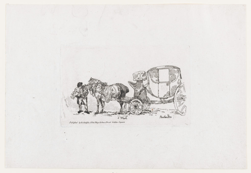 Man Feeding Horses Yoked to a Carriage, from A New Book of Horses and Carriages