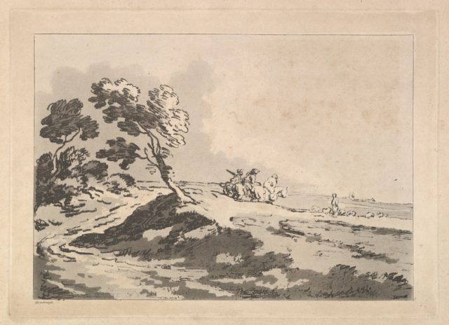 Open Landscape with Three Horsemen in the Middle Distance Heading to the Right, Windblown Trees at Left