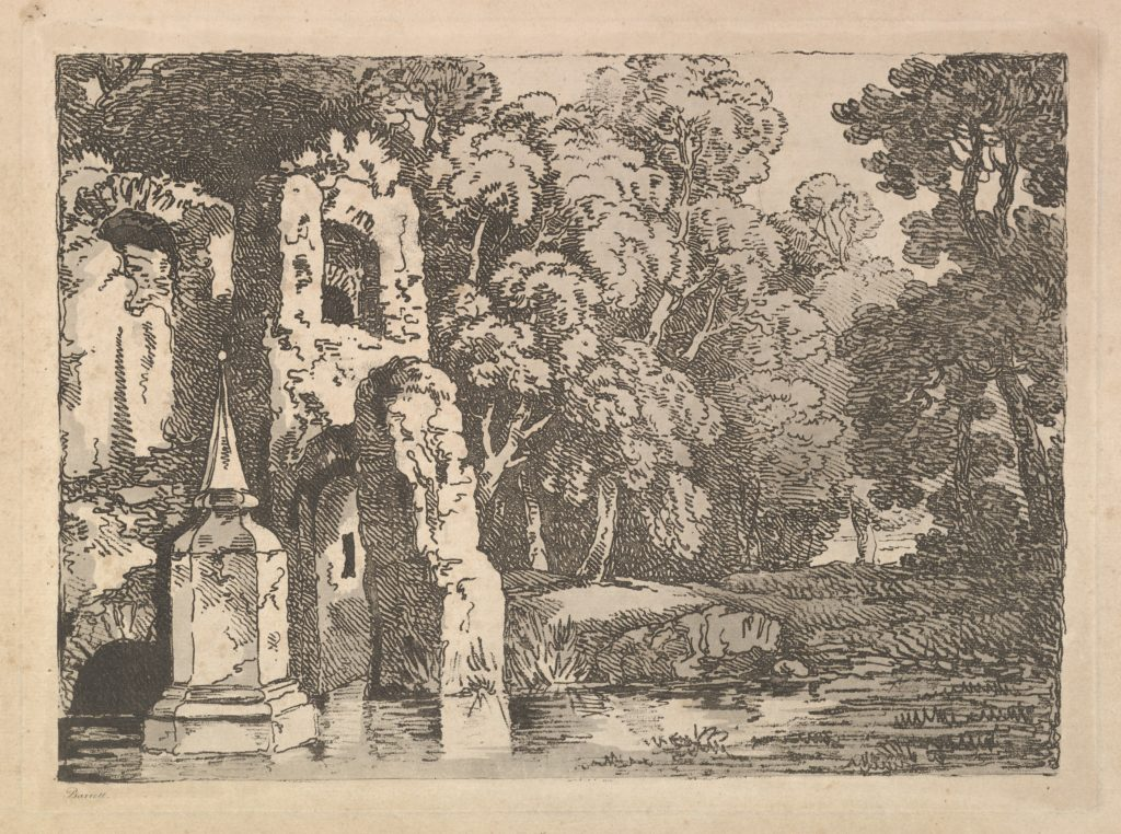 Ruins Next to a Pool in a Wooded Landscape