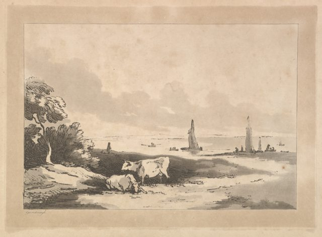 Shore Scene With Cattle in the Foreground and Boats in Shallow Water at Right