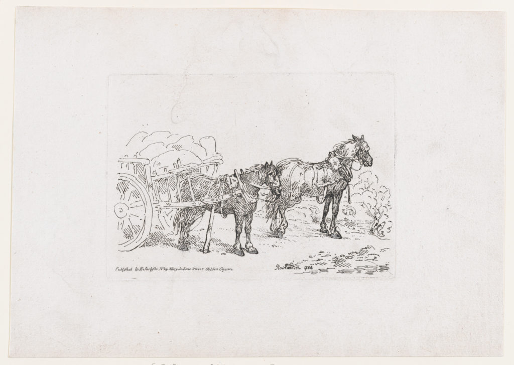 Two Horses Yoked to a Wagon, from A New Book of Horses and Carriages