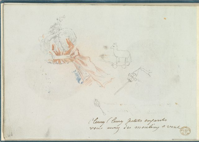 A Costume Design Sketch for a Hat and Three Sketches of Children's Toys