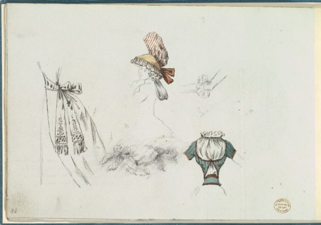 Costume Design Sketches including a Bouffant Skirt, Hat, and Bodice
