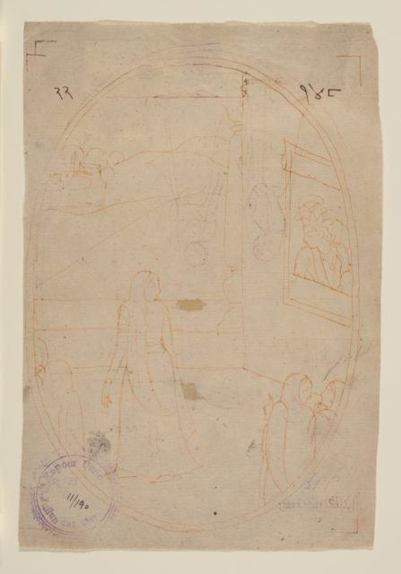 Drawing for an Illustration from a Sat Sai of Bihari Lal Series: The Message of the Eyes (recto); Lady in Search of Her Lover on a Dark Night (verso)