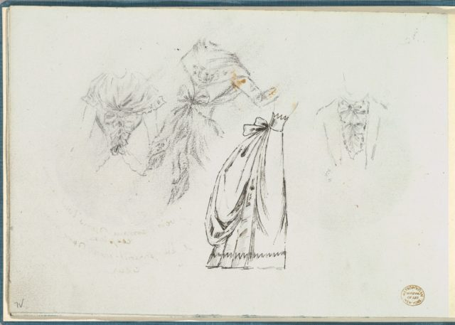 Sketches of Bodices with Bows and a Bouffant Skirt