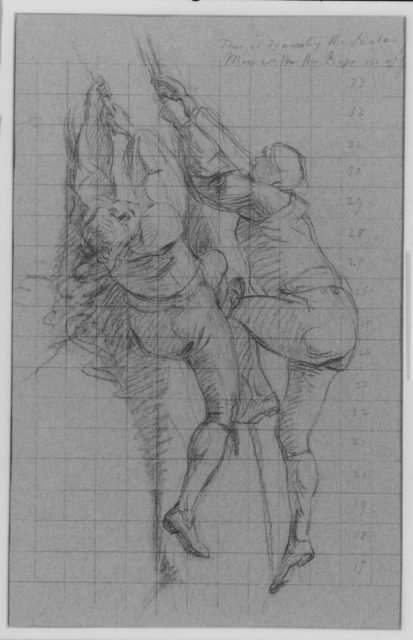 """Study for """"The Siege of Gibraltar"""": Figures Scaling Floating Battery; Cannon"""